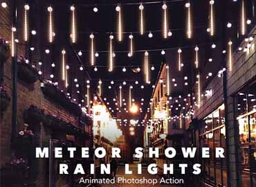 Gif Animated Meteor Shower Rain Light Photoshop Action