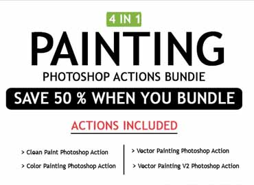 Painting 4 IN 1 Photoshop Actions Bundle