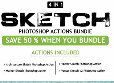 Sketch 4 IN 1 Photoshop Action Bundle