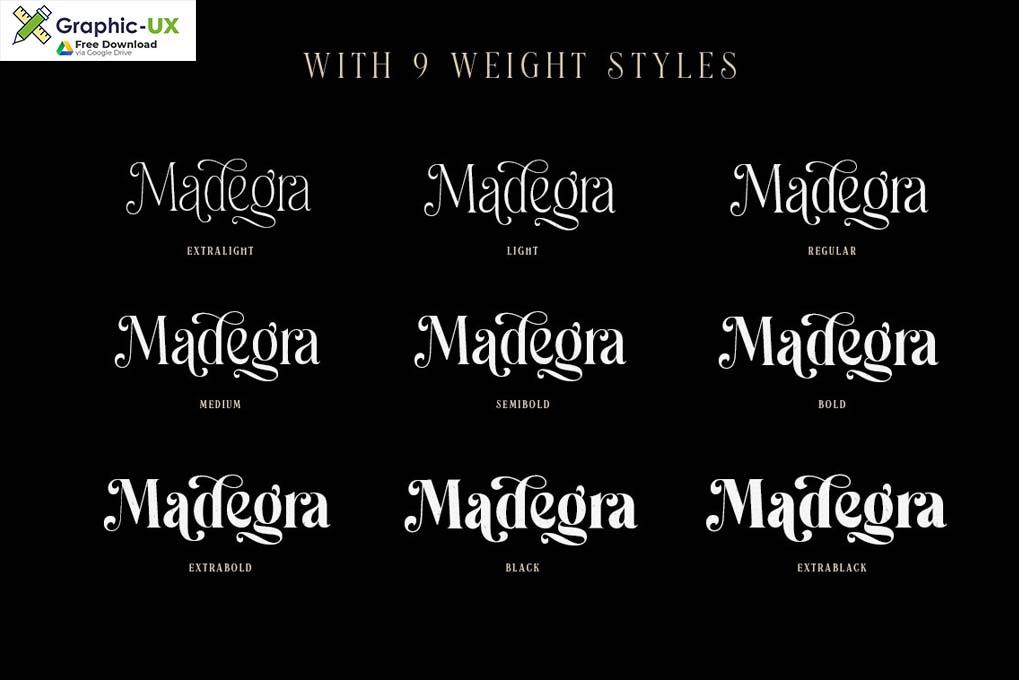 Madegra Serif 9 Weight Font Styles