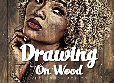 Drawing on Wood Photoshop Action