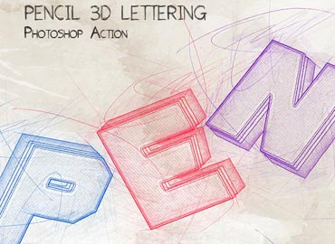 Pencil 3D Lettering - Photoshop Action