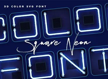 Square Neon - 3D Color SVG Font
