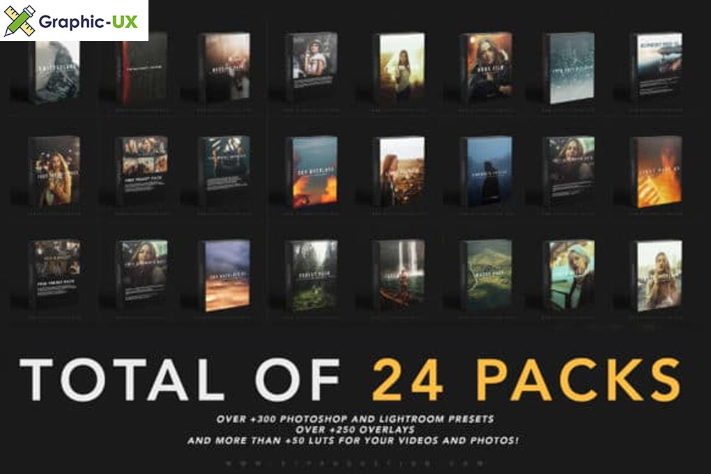 THE WHOLE SHOP BUNDLE 24 PACKS OF LIGHTROOM PRESETS, LUTS AND OVERLAYS