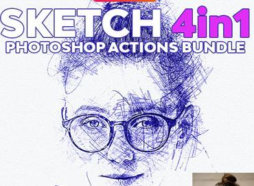 Sketch 4in1 Photoshop Actions Bundle