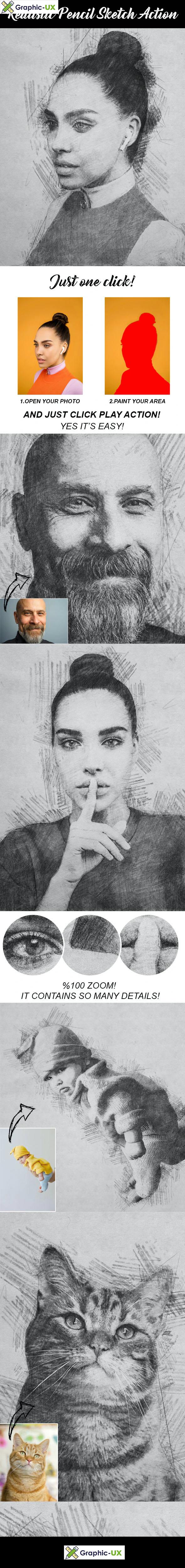 Realistic Pencil Sketch Action