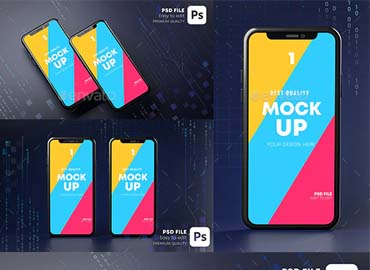Smartphone Mockup Hologram. Dark Background Technology Concept 3D Rendering