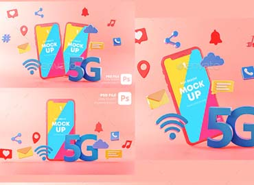 5G Phone Concept Wifi Connection on Pink Background With Icons 3D Rendering. Mockup Template