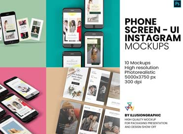 Phone Screen UI Instagram Mockup