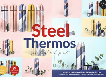 Steel Thermos Mock-ups