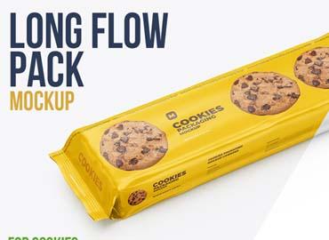 Flow Pack Cookies Mockup
