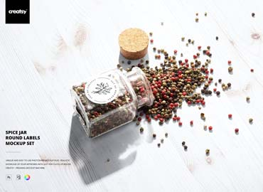Spice Jar Round Labels Mockup Set