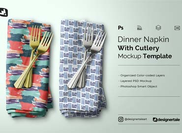 Dinner Napkin With Cutlery Mockup