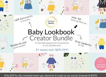 Baby Lookbook Creator Bundle Mockups