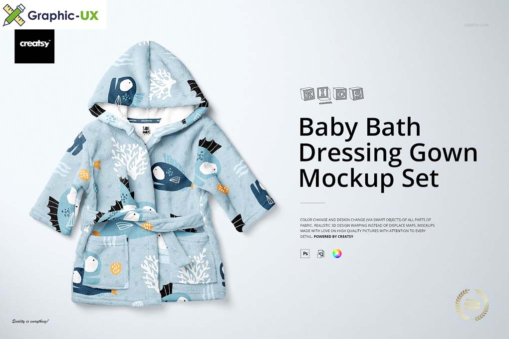 Baby Bath Dressing Gown Mockup Set