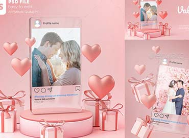 Instagram Post Mockup on Glass Template Valentine Wedding Love Heart Shape and Gift Box 3D Rendering