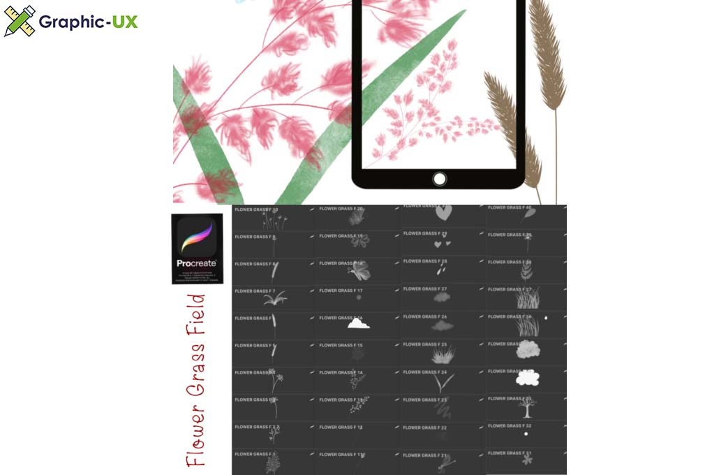 FLOWER GRASS FIELD Procreate Brush Stamp