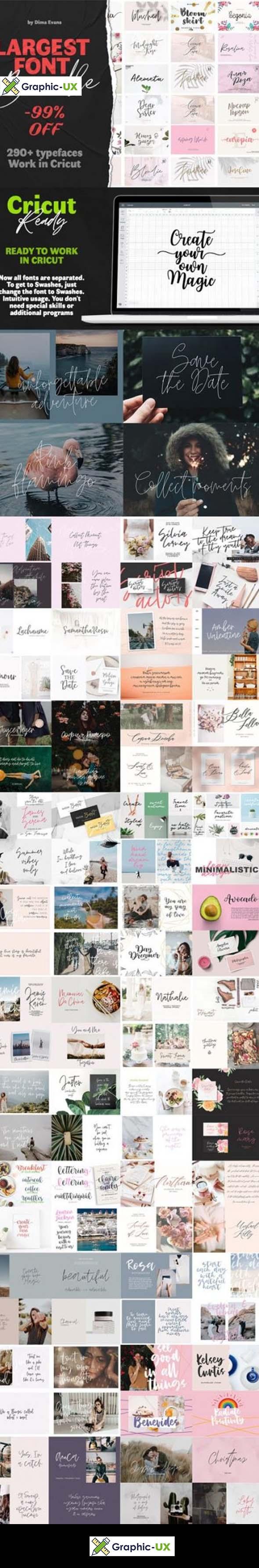 Largest Font Bundle 290+ Typefaces Work in Cricut