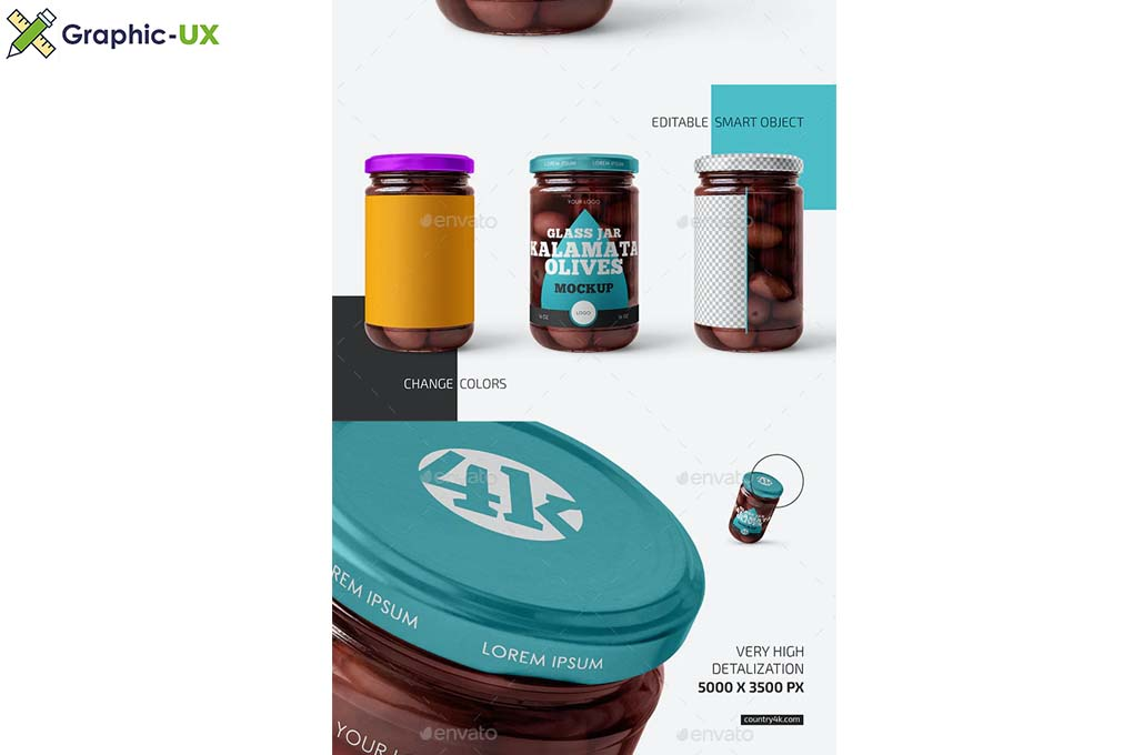 Jar with Kalamata Olives Mockup Set