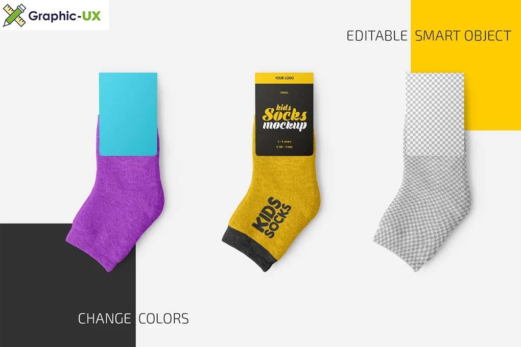 Kids Socks with Label Mockup Set