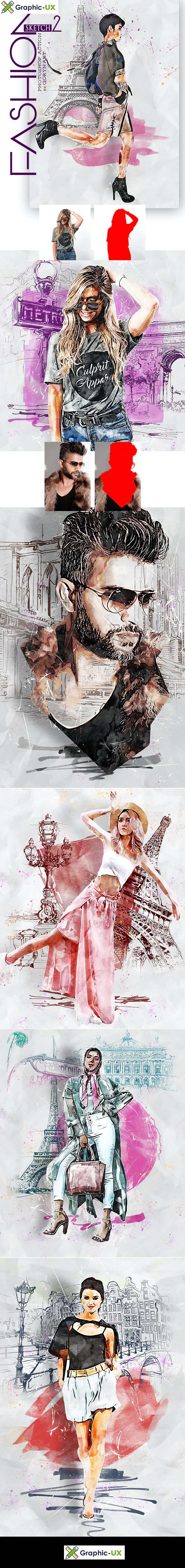 Fashion Sketch 2 Photoshop Action