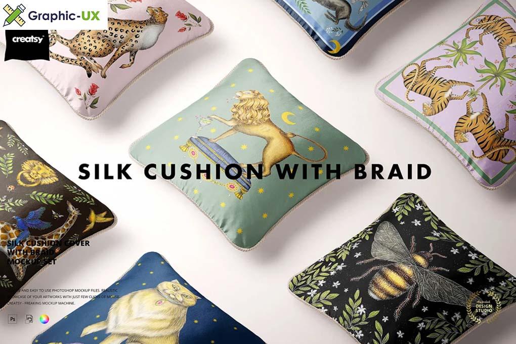 Silk Cushion with Braid Mockup Set