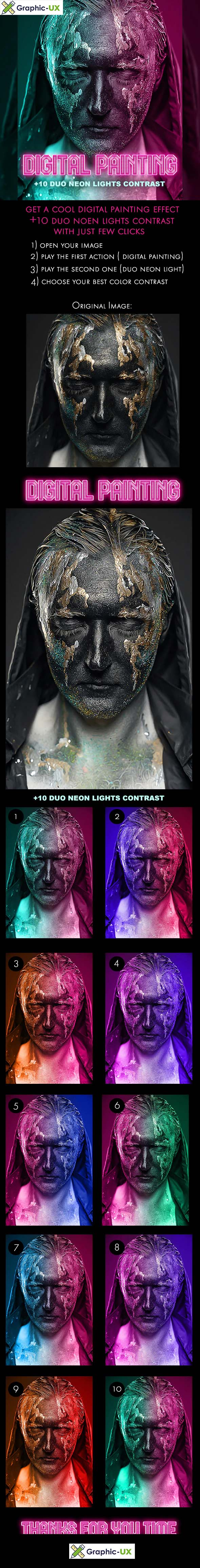 Digital Painting + 10 Duo Neon Light Contrast - Photoshop Action