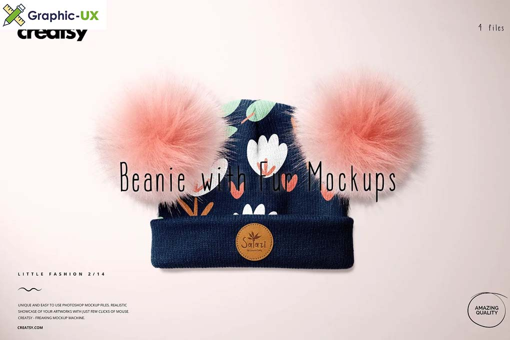 Beanie with Fur Pompons Mockup Set