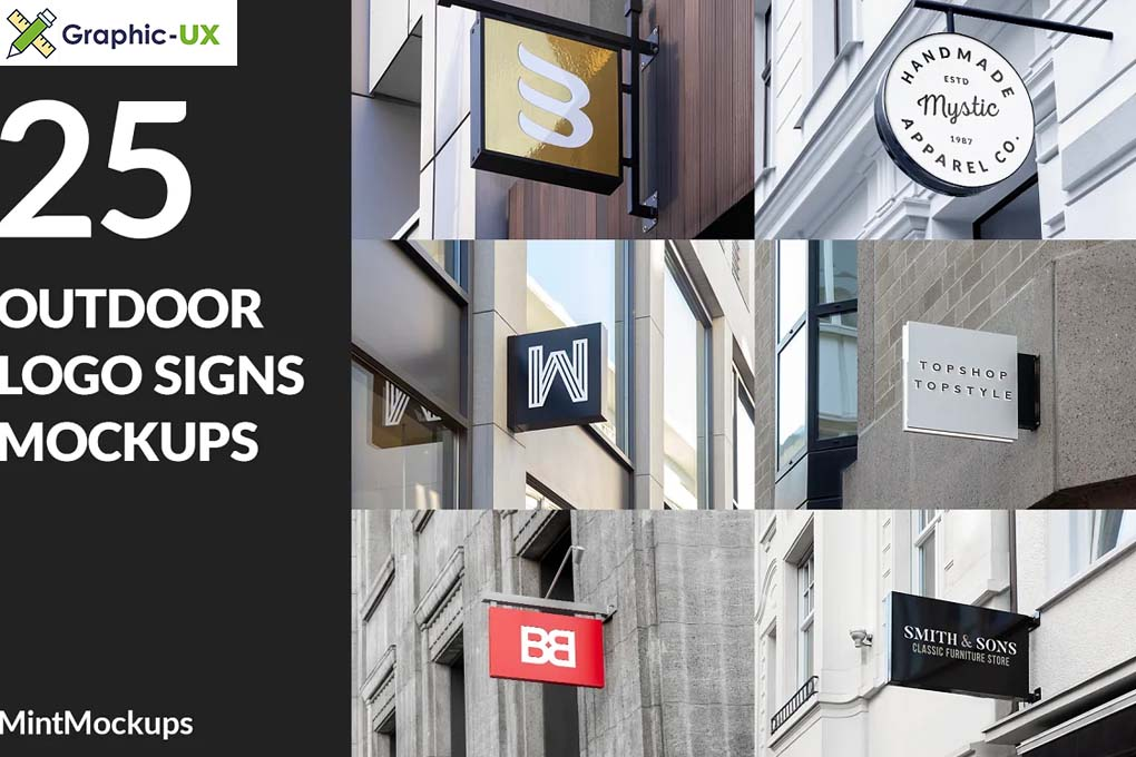 25 Outdoor Logo Signs Mockups