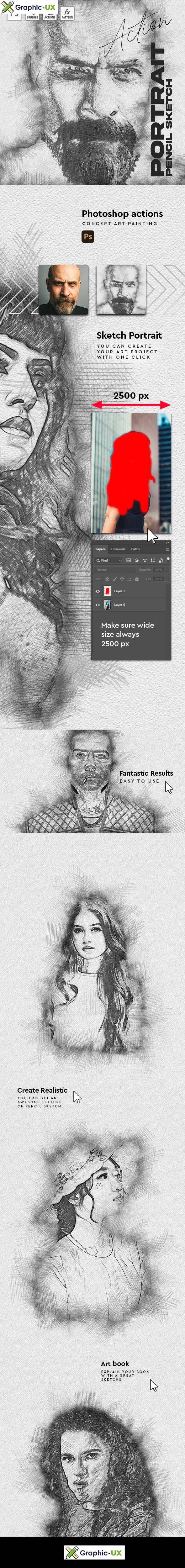Sketch Portrait Pencil Photoshop Action
