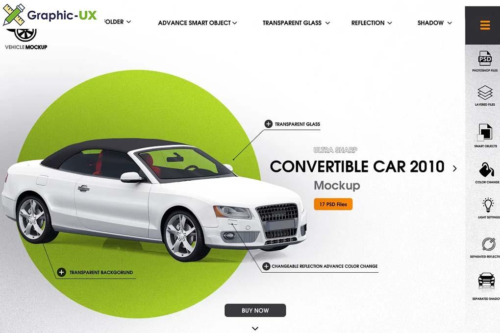 Convertible car 2010 mockup