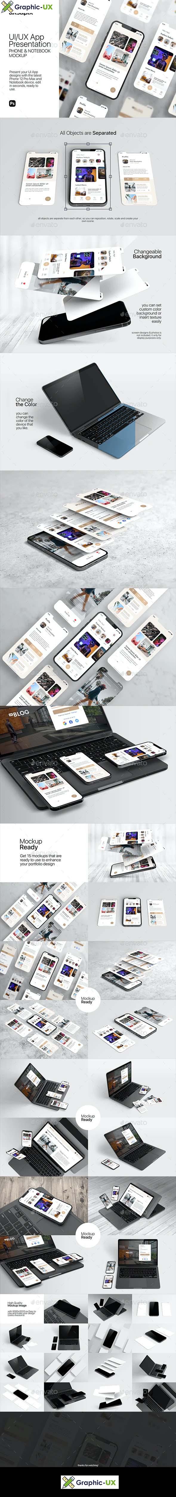 UIUX App Presentation Phone & Notebook Mockup