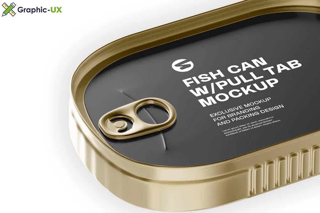 Metallic Fish Can W/ Pull Tab Mockup