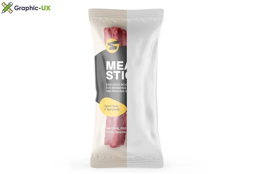 Plastic Bag With Meat Sticks Mockup