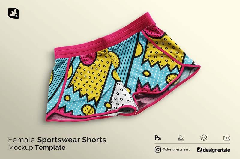 Female Sportswear Shorts Mockup
