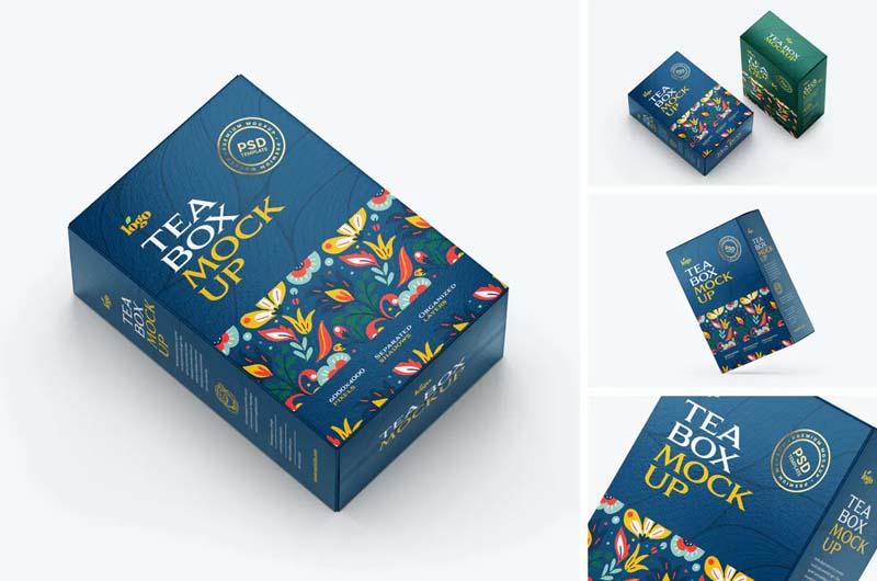 Tea Box Packaging Mockup Set