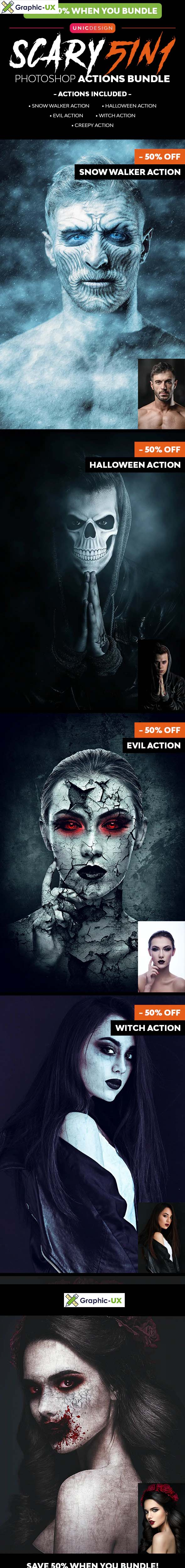Scary Photoshop Actions 5in1 Bundle